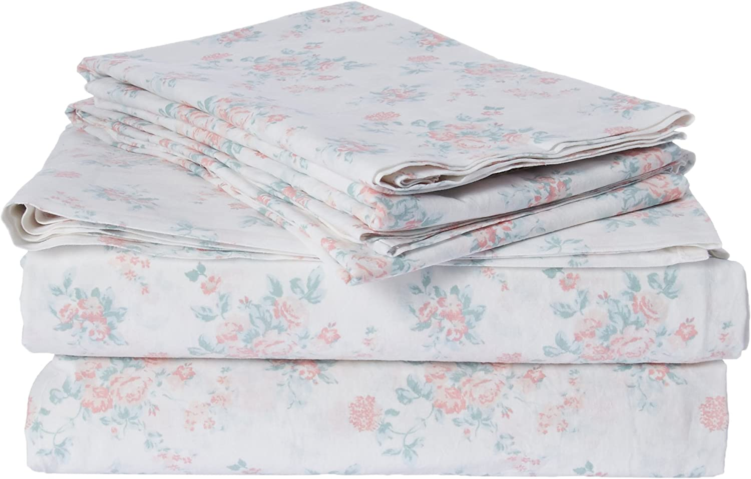 Madison Park Floral Queen Bed Sheets, Cottage Country 100% Cotton Bed Sheet, Pink Bed Sheet Set 6-Piece Include Flat Sheet, Fitted Sheet & 4 Pillowcases