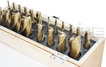 Accusize Industrial Tools 20 Pc H.S.S. Tin Coated End Mill Set, Metric Size, Cutting Diameter from 3 mm up to 20 mm, 2 Flute and 4 Flute, 1810-0104