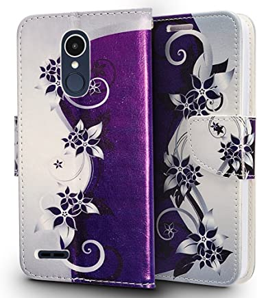 LG Aristo 2 X210 / LG Tribute Dynasty / LG REBEL 3 LTE (L157BL) Case, Luckiefind Premium PU Leather Flip Wallet Credit Card Cover Case, Stylus Pen, Screen Protector Accessories (Wallet Purple Vine)