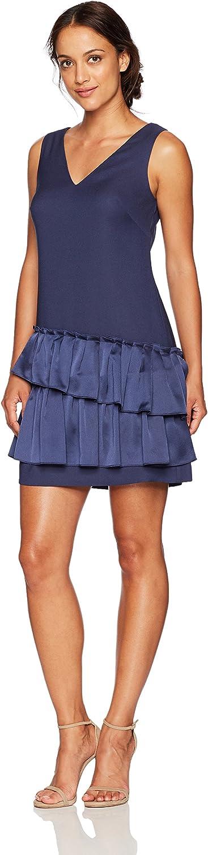 Eliza J Womens Petite VNeck Dress Pleated Hem Dress