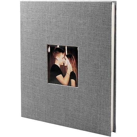 VEESUN Álbum de Fotos Autoadhesivo, 40 Páginas Blancas (20 Hojas) Album Fotos para Pegar, Album de Pareja Scrapbook 28 x 27 cm, Regalos de Boda Cumpleaños, Gris
