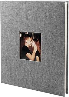 VEESUN Álbum de Fotos Autoadhesivo 40 Páginas Blancas (20 Hojas) Album Fotos para Pegar Album de Pareja Scrapbook 28 x 27 cm Regalos de Boda Cumpleaños Gris