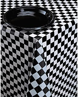 Creative Converting Plastic Banquet Table Cover, Black Check - 39197