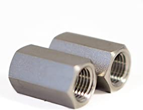 2 Pack - 316 Stainless Steel 1/4 NPT Female to 1/4 NPT Female Straight Hex Coupler/Coupling for Air, Liquid or Hydraulic Fitting - Industrial Air Tool Hose 1/4 Inch Coupling