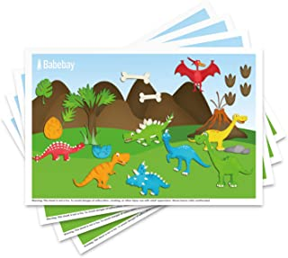 "Disposable Placemats Instant Table Topper for Baby & Kids, Food Grade Plastic Adhesive Mat 40 Packs 12"" x 18"" Adorabal Dinosaurs Stick Strip Portable Mats, BPA-Free Dining Mats"
