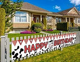 Colormoon Farm Happy Birthday Banner, Barn Theme Party Banner, Cow Happy Birthday Banner, Farm Theme Party Decorations Supplies (9.8 x 1.5 feet)
