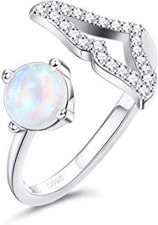 Milacolato Mermaid Tail Rings - S925 Sterling Silver Created Opal Rings 18K Gold Plated Dolphin Tail Rings with Cubic Zirc...