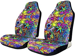 NG-1 Psychedelic Trippy Art Car Seat Cover Protector Cushion Premium Covers for Women, Men, Girls, Boys Fits Most Cars, Truck, SUV Or Van