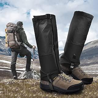 LeanKing Leg Gaiters, Waterproof Snow Boot Gaiters 600D Anti-Tear Oxford Fabric Outdoor Waterproof Snow Leg Gaiters for Outdoor Hiking Walking Hunting Climbing Mountain (Black, S)