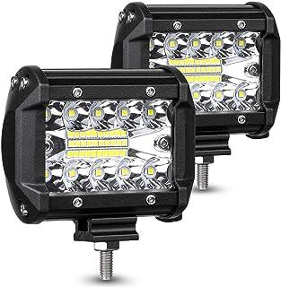 ASAHITOU 60W 作業灯 LED 防水ワークライト 広角と狭角タイプ DC12v-24v兼用 5000LM ledライト トラック/大型車/軽トラ/除雪機/トレーラー/重機用/ダンプ LED投光器 (2個セット)
