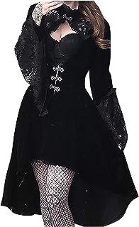 Xiangdanful Xiangdanful Damen Mittelalterliche Kleid mit Trompetenärmel Vintage Gothic Punk Cocktailkleid Spitzen Schwingen Pinup Rockabilly Kleid Gerichtsstil Fasching Cosplay Kostüm Abendkleid L, Schwarz
