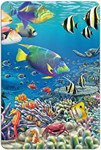 Ocean Coral Reef Angel Fish Vintage Metal Sign Iron Painting for Indoor Outdoor Home Bar Coffee Kitchen Wall Decor 8 X 12 Inch