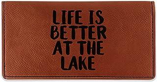 Lake House Leatherette Checkbook Holder - Single Sided (Personalized)