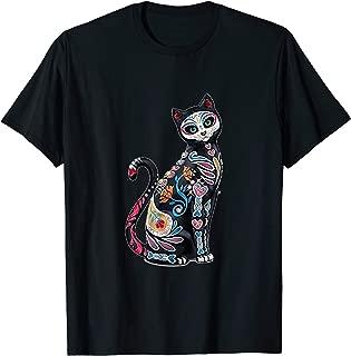 Mosaic Sugar Skull Day Of The Dead Cat Art Gift T-Shirt