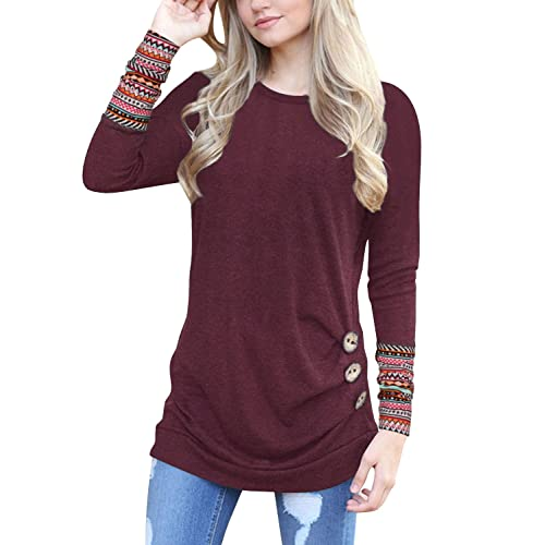 afe742a5e2caf WateLves Womens Long Sleeve Blouse Button Decor Casual Loose Tunics T-Shirt  Tops