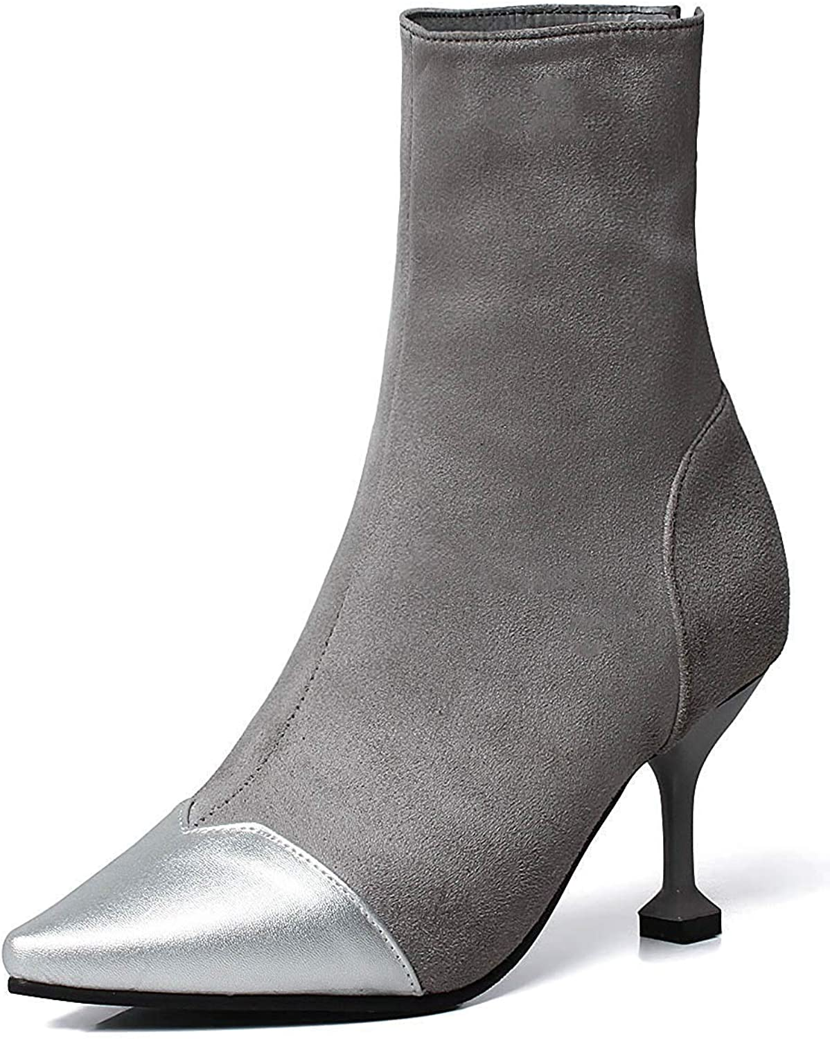 Unm Women's Sexy Stiletto High Heel Zip Up Pointed Toe Dress Ankle Booties with Zipper