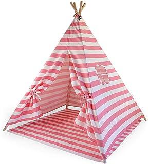 Hej Lønne Barn tipi, rosa vitt randigt tält, ca 120 x 120 x 150 cm stort, lektält med golvtak och fönster, inklusive påse ...
