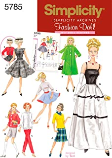Simplicity Vintage Fashion Doll Clothing Outfits Sewing Patterns for 11.5'' Dolls
