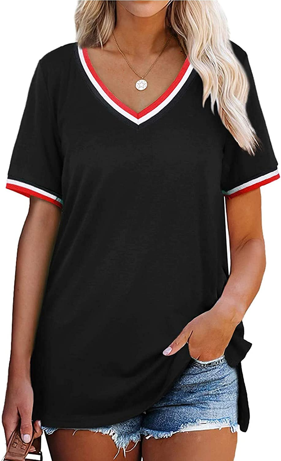 Womens T Shirts Summer Casual Loose Fit V Neck Tops Side Split Short Sleeve Tee Shirts Tunic Tops