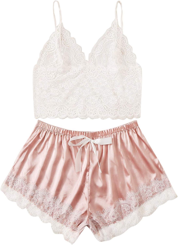 SOLY HUX Women's Plus Size Spaghetti Strap Lace Trim Bralette and Shorts Sleepwear Pajama Lingerie Set