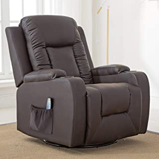 ComHoma Leather Recliner Chair Modern Rocker with Heated Massage Ergonomic Lounge 360 Degree Swivel Single Sofa Seat with Drink Holders Living Room Chair Brown