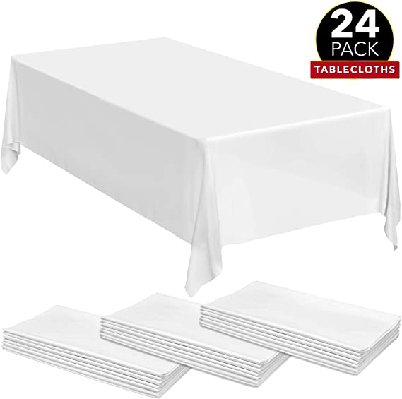 Gee Di Moda Rectangle Tablecloth - 70 x 120 Inch - White Rectangular Table Cloth in Washable Polyester - Great for Buffet Table