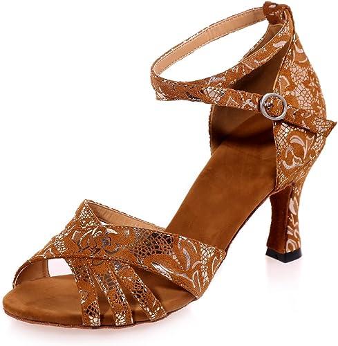 L@YC Chaussures de Danse pour Femmes Latin Suede Paillettes mousseuses Cubain synthétique avec Multi-Couleur