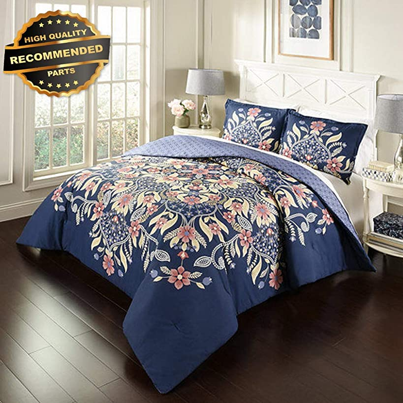 Gatton Premium New Floral Fantasy Blue Comforter Set Full Queen Shams vy | Style Collection Comforter-311012799