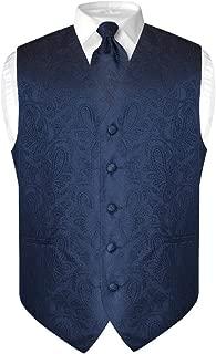 Vesuvio Napoli Men's Paisley Design Dress Vest & Necktie Navy Blue Color Neck Tie Set