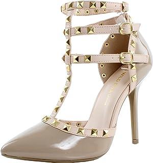 163cbe93da2 Wild Diva Women Studded Ankle Straps Stiletto High Heel Pumps Red Beige