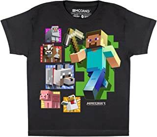 Minecraft Steve And Friends Boys T-Shirt   Official Merchandise   PS4 PS5 XBox PC Switch Gamer Gifts, Tween Teen School Bo...