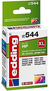 Edding Tintenpatrone Edd 544 Ersetzt HP 302XL (F6U67AE)   3 farbig   16 ml
