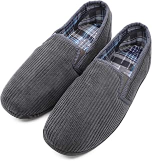 MediFeet Men's Comfy Memory Foam Diabetic Slippers Extra Wide Width Slip-on Corduroy Edema House Shoes for Swollen Feet Elderly Seniors