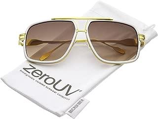 Retro Oversize Cut Out Flat Top Crossbar Neutral Lens Aviator Sunglasses 60mm