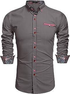 COOFANDY Men's Fashion Slim Fit Dress Shirt Casual Long Sleeve Button Down Shirt