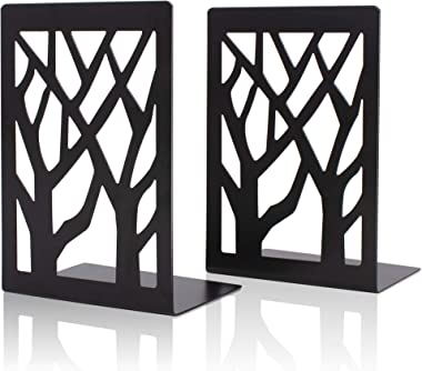 shikaman Metal Bookends-Heavy Book Ends for Shelves,Book Shelf Holder Home Decorative,Black Bookend Supports (2)