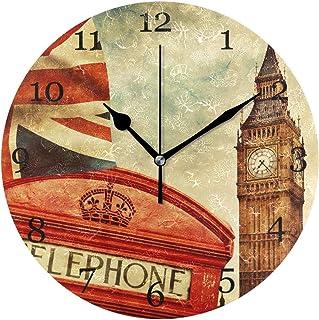 London telefonkiosk Big Ben Union Jack väggklocka tyst icke-tickande 25 cm rund klocka akryl konstmålning hem kontor skold...