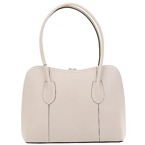 650e63ce0d1 Primo Sacchi® Italian Smooth Cream Leather Hand Made Classic Style Long  Handled Handbag Tote Grab