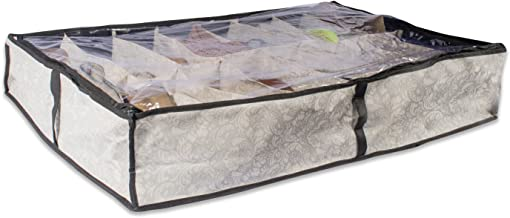 DII Breathable, Under The Bed or Closet Soft Storage Bag with Clear Viewing Window & Zipper Closure for Shoes (Fits 16 Pai...