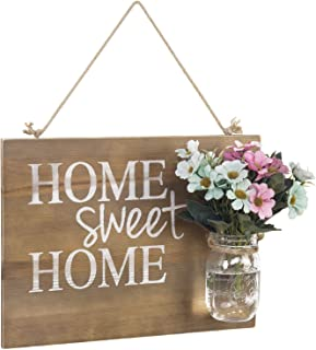 MyGift Rustic Home Sweet Home Wood Hanging Sign with Glass Jar Vase