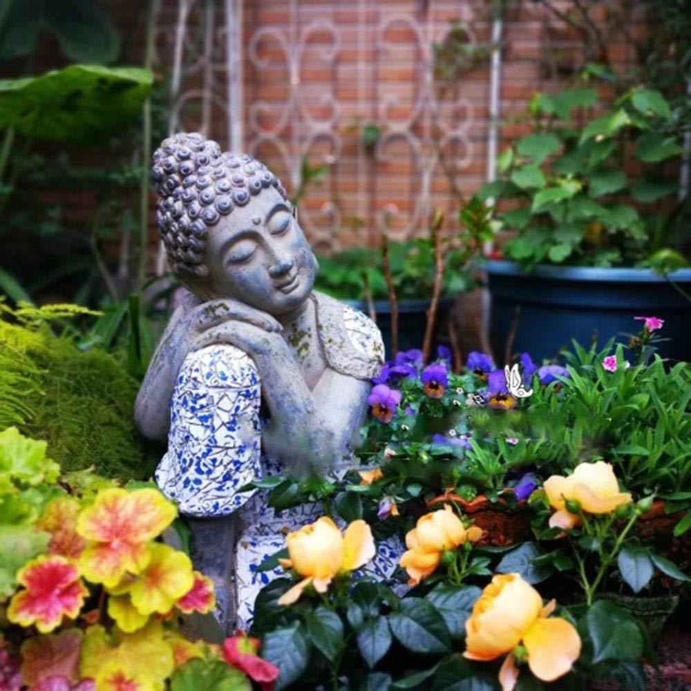 Buda Durmiente Adornos Decorativos, Patio de jardín de Villa Meditación durmiendo Buda Decoraciones, visualización de la Ventana Adornos de jardinería jardinería Zen: Amazon.es: Hogar