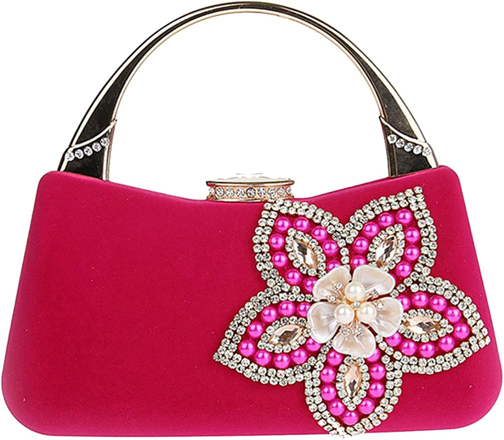 Thenice Women's Small fresh Wedding package Evening Bags Clutch (rose Red)