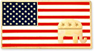 American Flag Republican Elephant Patriotic Enamel Lapel Pin