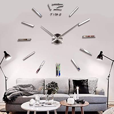 Imoerjia DIY Living Room Wall Clock Creative Home Decor Wall Clock, B