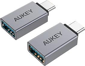 Type c 変換アダプタ 【2点セット】 AUKEY USB C to USB A変換アダプタ USB 3.0 Type cコネクタ OTG機能対応 アルミ材質 iPad Pro、MacBook Pro、Huawei Mate 9/P10、Nexus 6P/5X、Samsung Galaxy S8/S8+ などに対応 CB-A22(グレー)