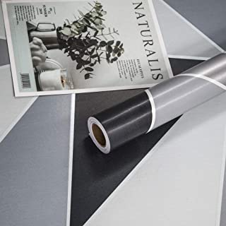Geometric Wallpaper Black and White Gray Self Adhesive Peel and Stick Splicable Removable Thick Wallpaper PVC Vinly Film for Bedroom Kitchen Cabinet Furniture Office Bookcase Shelf 17.7in×78.7in