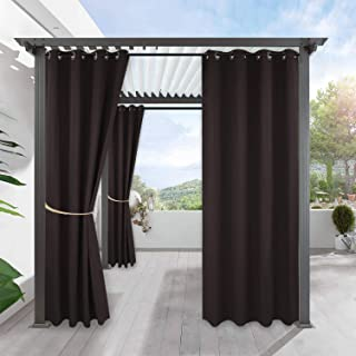 RYB HOME Indoor Outdoor Curtain - Porch Curtains Outdoor Patio Sunlight Block Window Curtain Grommet Waterproof Cabana Cabin Drape Privacy Panel, 1 Piece, 52 x 84 inch, Brown