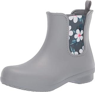 Crocs Women's Freesail Chelsea Rain Boot, tropical floral/light grey, 4 M US