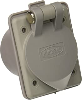 Hubbell Wiring Systems HBL61CM65 Nylon Compact Weatherproof Panel Mount Outlet with Straight Blade, 20A/15A, 125V, 2-Pole, 3 Wire Grounding, Gray