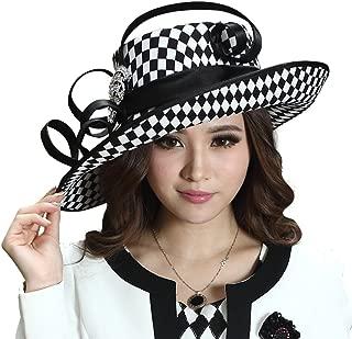 June's Young Ladies Satin Dress Hat Church Hat Formal Hat for Women Black Hat